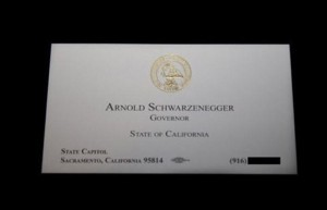 Arnold Schwarzenegger Business Card