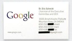 Eric Schmidt Business Card