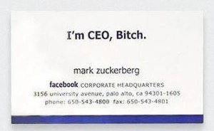 Mark Zuckerburg Business Card